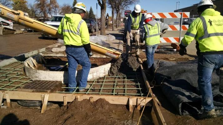 Placing Concrete for New Curb