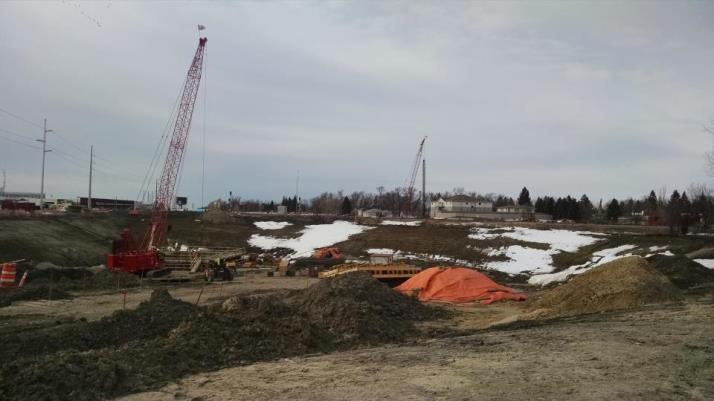 Looking south of work site, lift station in front of red crane
