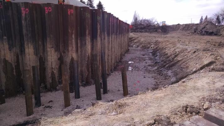 Piling that will support retaining walls
